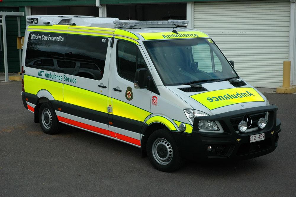 ACT Ambulance-Intensive Care Paramedic-High Visibility-Fluorescent reflective 315 Sprinter-www.ambulancevisibility.com-John Killeen